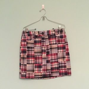 Patchwork Plaid Skirt Loft Red White and Blue